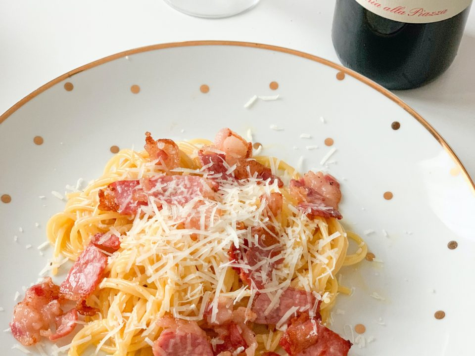 Spaghetti Pasta Carbonara-Toffee apples for Eve a